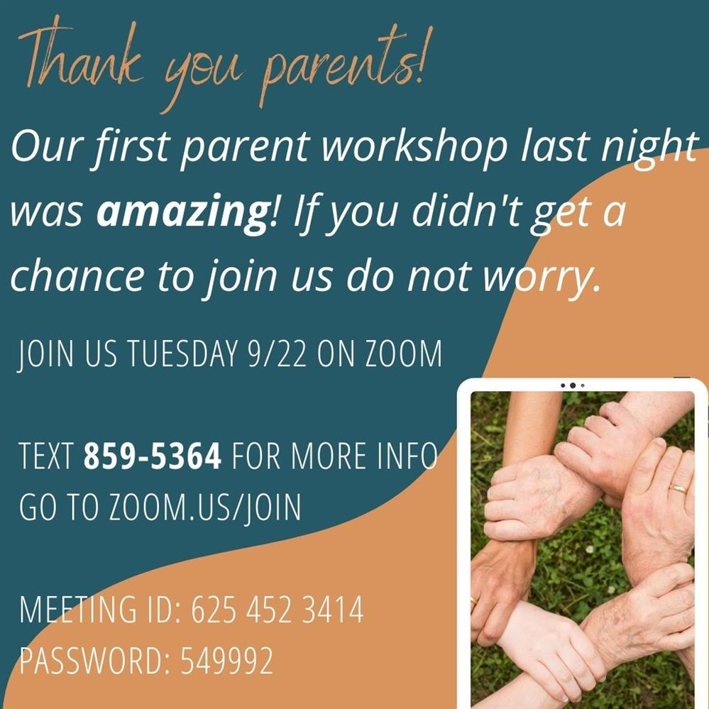 Next Parent Workshop is Tuesday, Sept. 22 @ 6:30